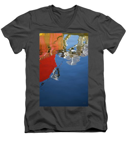 Men's V-Neck T-Shirt featuring the photograph New Bedford Waterfront Xxviii Color by David Gordon