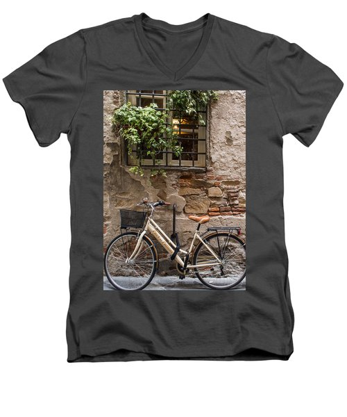 New Bike In Old Lucca Men's V-Neck T-Shirt