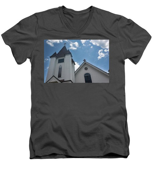 Men's V-Neck T-Shirt featuring the photograph New England Church by Suzanne Gaff