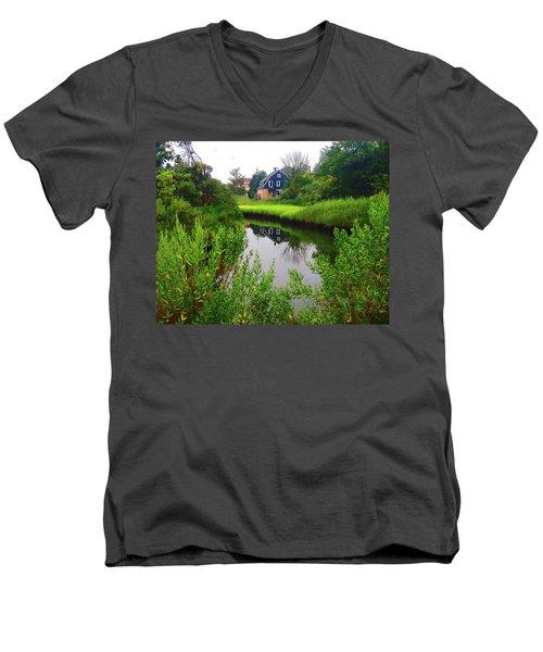 New England House And Stream Men's V-Neck T-Shirt