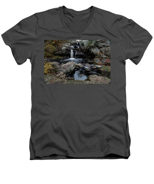 New England Waterfall In Autumn Men's V-Neck T-Shirt