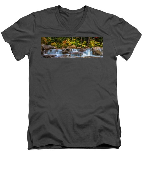 New Hampshire White Mountains Swift River Waterfall In Autumn With Fall Foliage Men's V-Neck T-Shirt