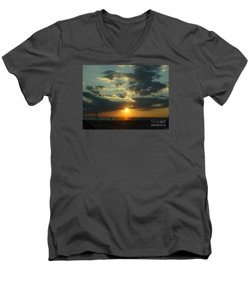 Men's V-Neck T-Shirt featuring the photograph New Horizon by Lyric Lucas