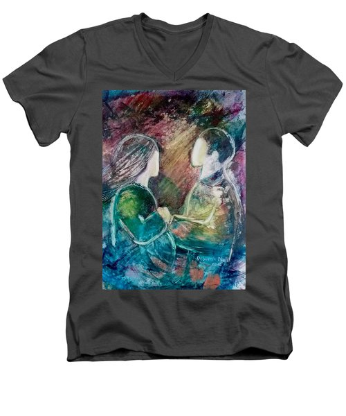 Men's V-Neck T-Shirt featuring the painting New Life by Deborah Nell