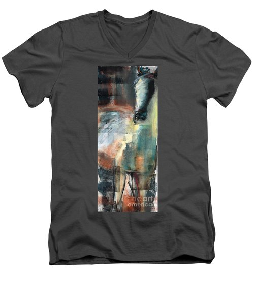 Men's V-Neck T-Shirt featuring the pastel New Mexico Horse Three by Frances Marino