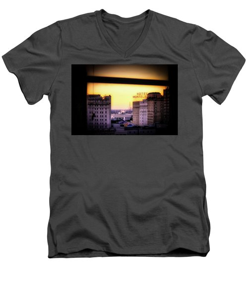 New Orleans Window Sunrise Men's V-Neck T-Shirt by Jim Albritton