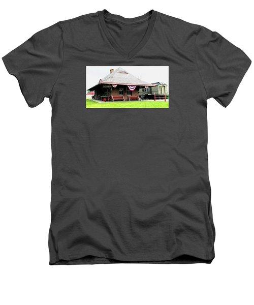 New Oxford Pennsylvania Train Station Men's V-Neck T-Shirt by Angela Davies