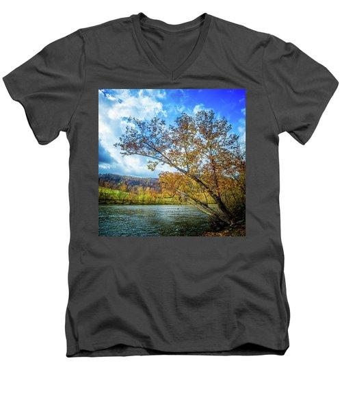 New River In Fall Men's V-Neck T-Shirt