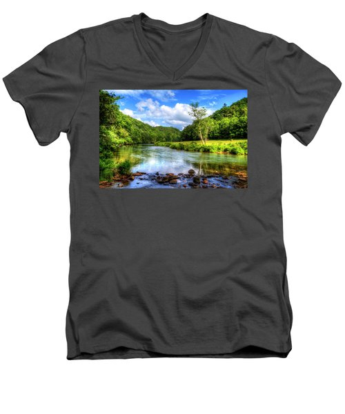 New River Summer Men's V-Neck T-Shirt by Dale R Carlson