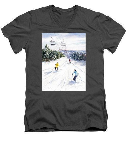 Men's V-Neck T-Shirt featuring the painting New Snow by Vikki Bouffard