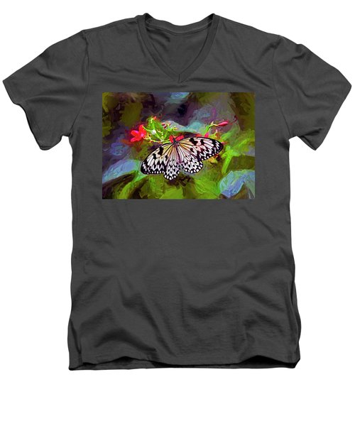 Men's V-Neck T-Shirt featuring the digital art New World Coming To Life by James Steele