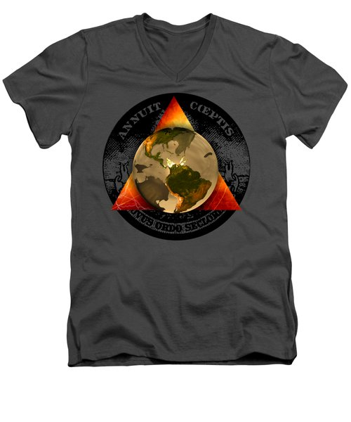 New World Order By Pierre Blanchard Men's V-Neck T-Shirt by Pierre Blanchard