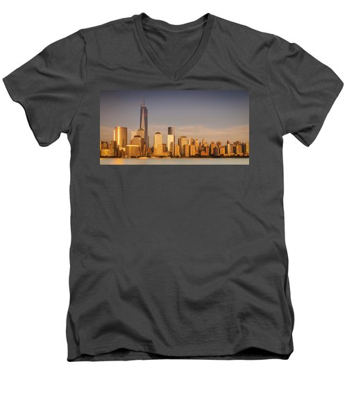 New World Trade Memorial Center And New York City Skyline Panorama Men's V-Neck T-Shirt by Ranjay Mitra