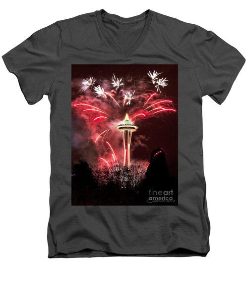 Men's V-Neck T-Shirt featuring the photograph New Years At The Space Needle by Peter Simmons