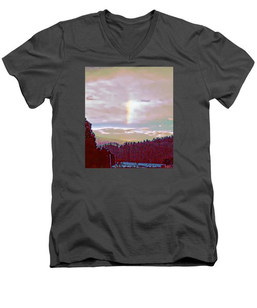 New Year's Dawning Fire Rainbow Men's V-Neck T-Shirt