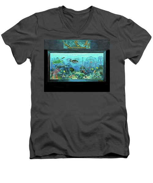 New York Aquarium Men's V-Neck T-Shirt by Bonnie Siracusa
