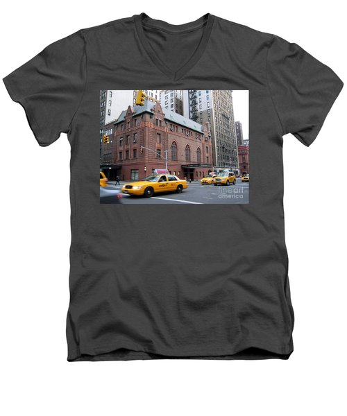 New York City Yellow Cab  - Amsterdam -  West Seventy Sixth Men's V-Neck T-Shirt