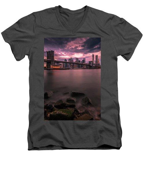 Men's V-Neck T-Shirt featuring the photograph New York City Brooklyn Bridge Sunset by Ranjay Mitra