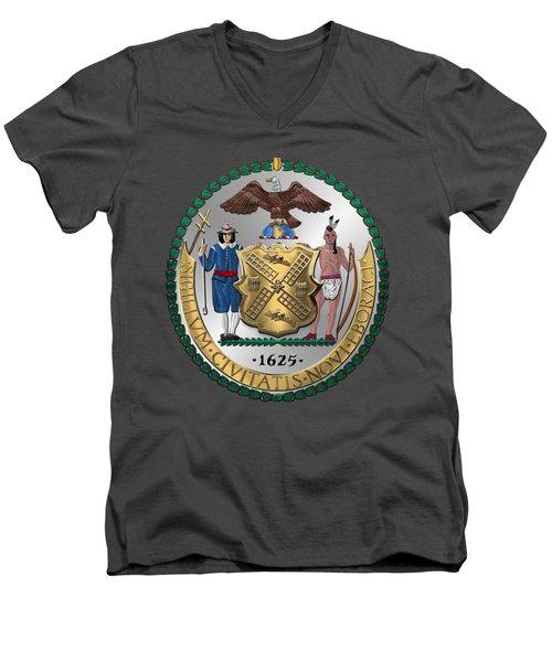 New York City Coat Of Arms - City Of New York Seal Over Red Velvet Men's V-Neck T-Shirt by Serge Averbukh