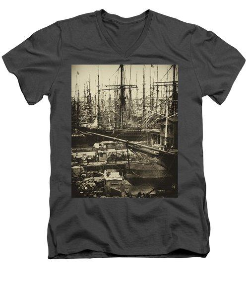 New York City Docks - 1800s Men's V-Neck T-Shirt