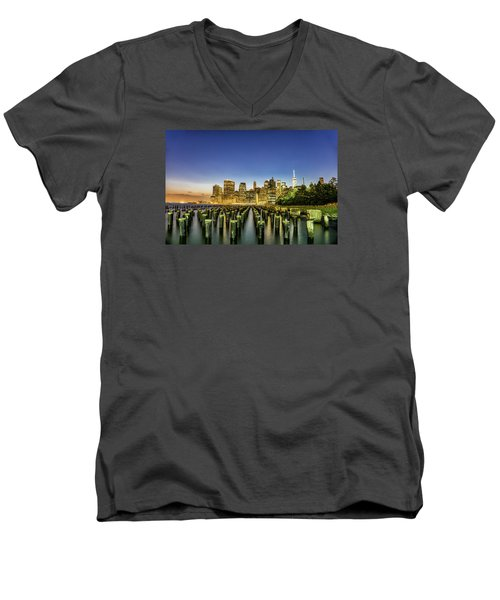 Men's V-Neck T-Shirt featuring the photograph New York City From Brooklyn by Rafael Quirindongo