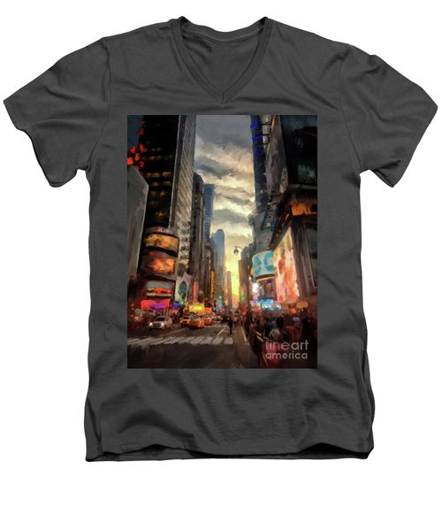 Men's V-Neck T-Shirt featuring the photograph New York City Lights by Lois Bryan