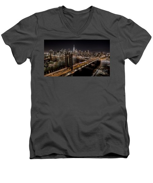 New York City, Manhattan Bridge At Night Men's V-Neck T-Shirt by Petr Hejl