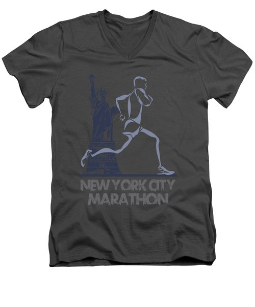 New York City Marathon3 Men's V-Neck T-Shirt by Joe Hamilton