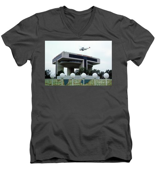 New York City Port Authority Helicopter Pad, New York World's Fa Men's V-Neck T-Shirt by Photovault
