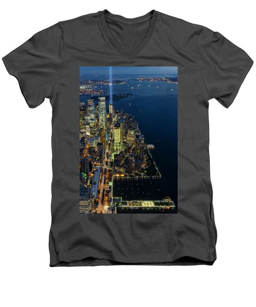 Men's V-Neck T-Shirt featuring the photograph New York City Remembers 911 by Susan Candelario