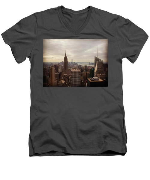 New York City Skyline Men's V-Neck T-Shirt by Lush Life Travel