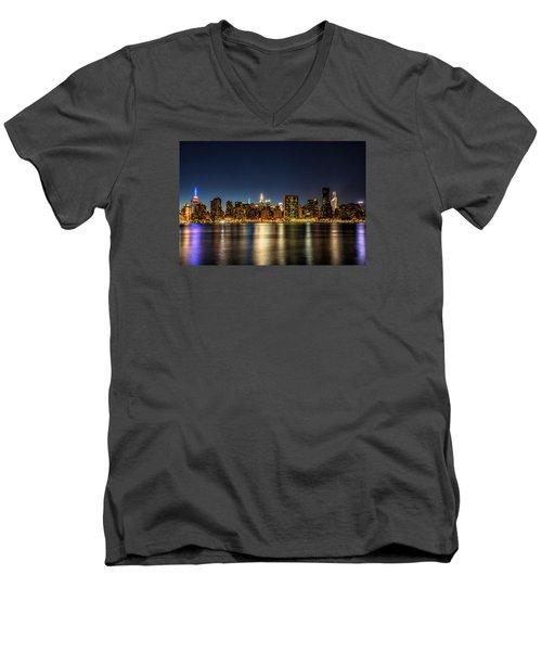 Men's V-Neck T-Shirt featuring the photograph New York City Skyline by Rafael Quirindongo