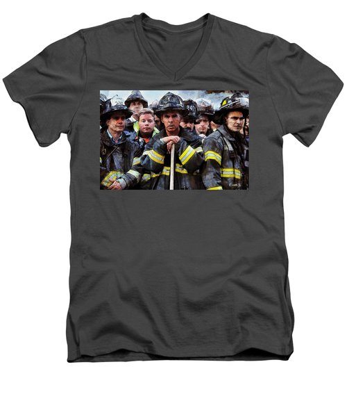 Men's V-Neck T-Shirt featuring the painting New York Firefighters After 9/11 by Kai Saarto