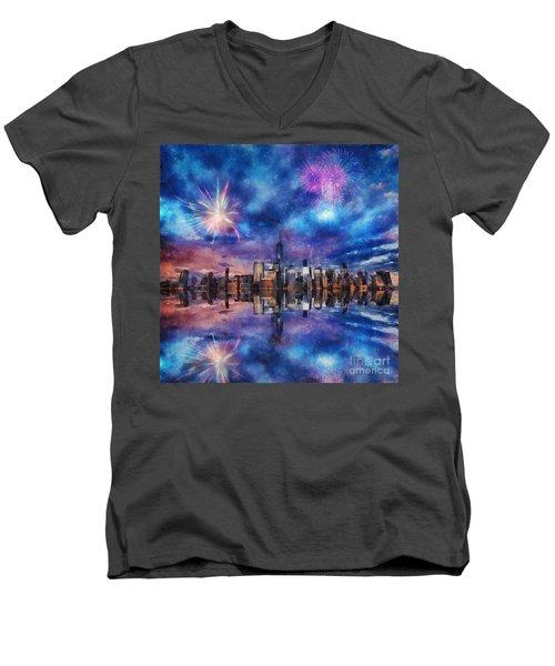 New York Fireworks Men's V-Neck T-Shirt by Ian Mitchell