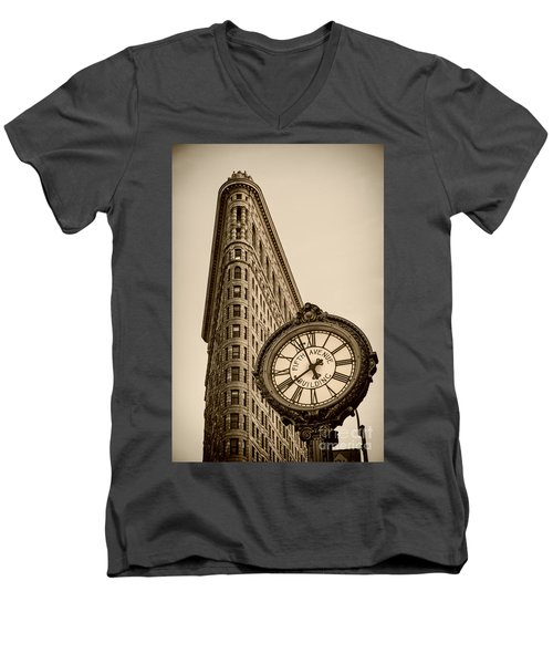 Men's V-Neck T-Shirt featuring the photograph New York Flatiron by Juergen Held