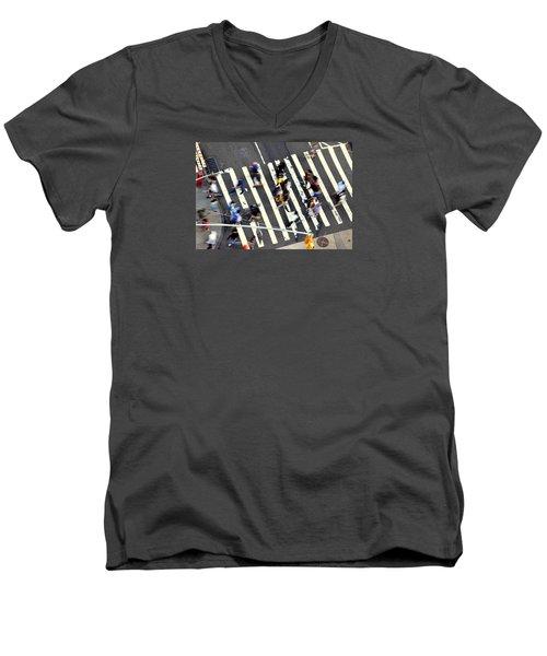 New York Minute Men's V-Neck T-Shirt by David Gilbert