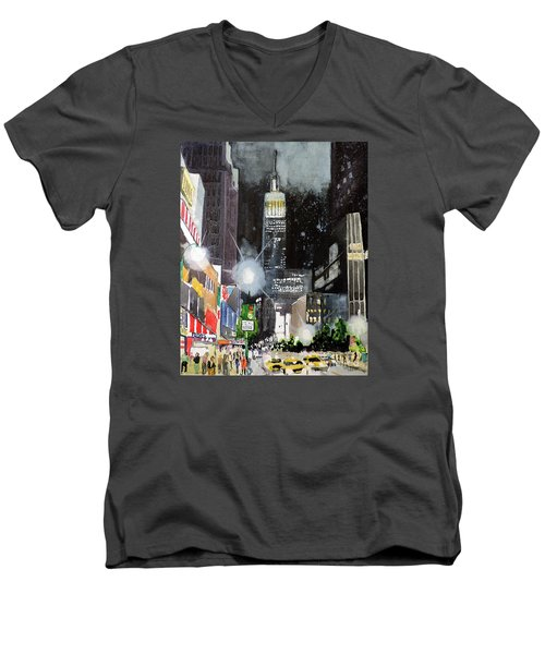 Men's V-Neck T-Shirt featuring the painting New York Night by Tom Riggs