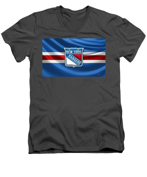 New York Rangers - 3d Badge Over Flag Men's V-Neck T-Shirt by Serge Averbukh