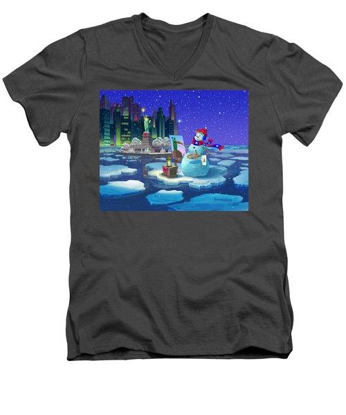 New York Snowman Men's V-Neck T-Shirt