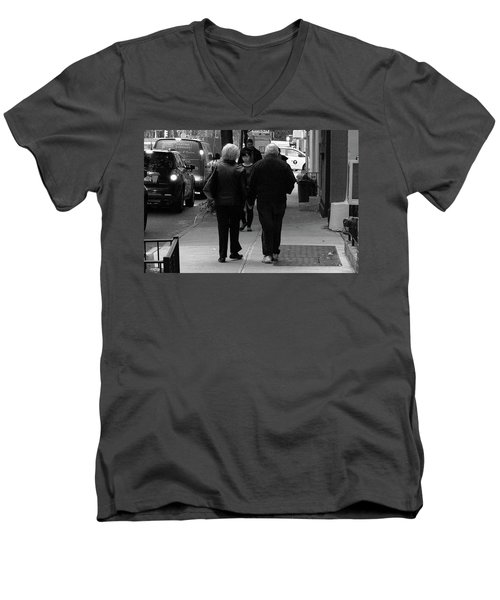 Men's V-Neck T-Shirt featuring the photograph New York Street Photography 75 by Frank Romeo