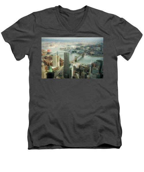 New York View Of East River Men's V-Neck T-Shirt