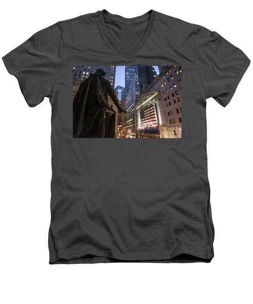 Men's V-Neck T-Shirt featuring the photograph New York Wall Street by Juergen Held