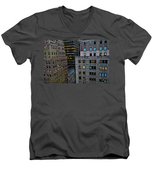 New York Windows Men's V-Neck T-Shirt by Joan Reese
