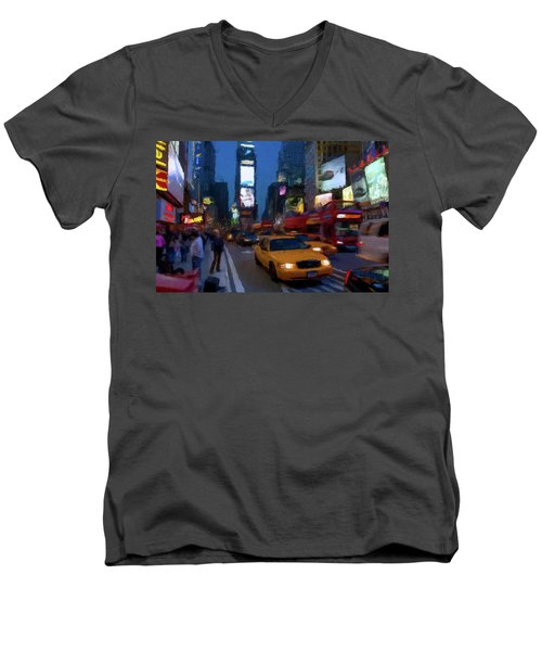 Men's V-Neck T-Shirt featuring the painting New York Yellow Cab by David Dehner