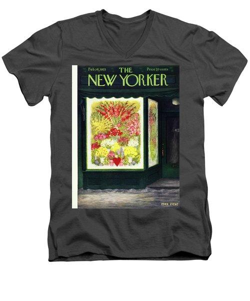 New Yorker February 14 1953 Men's V-Neck T-Shirt