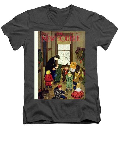 New Yorker January 21 1950 Men's V-Neck T-Shirt