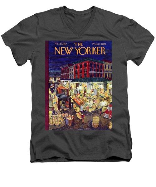 New Yorker November 23 1957 Men's V-Neck T-Shirt