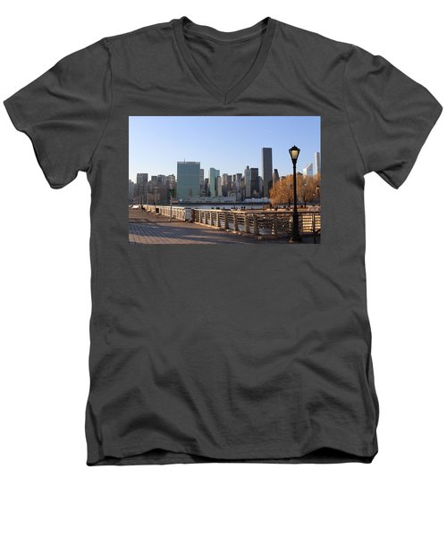 New York's Skyline - A View From Gantry Plaza State Park Men's V-Neck T-Shirt