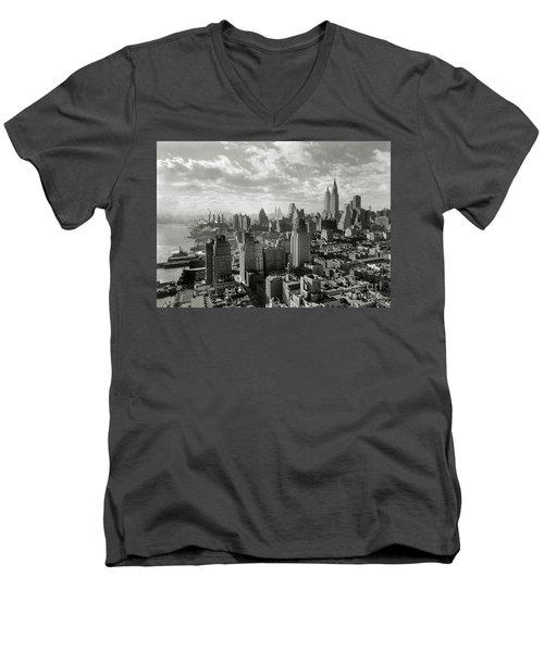 New Your City Skyline Men's V-Neck T-Shirt by Jon Neidert