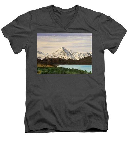 New Zealand Lake Men's V-Neck T-Shirt